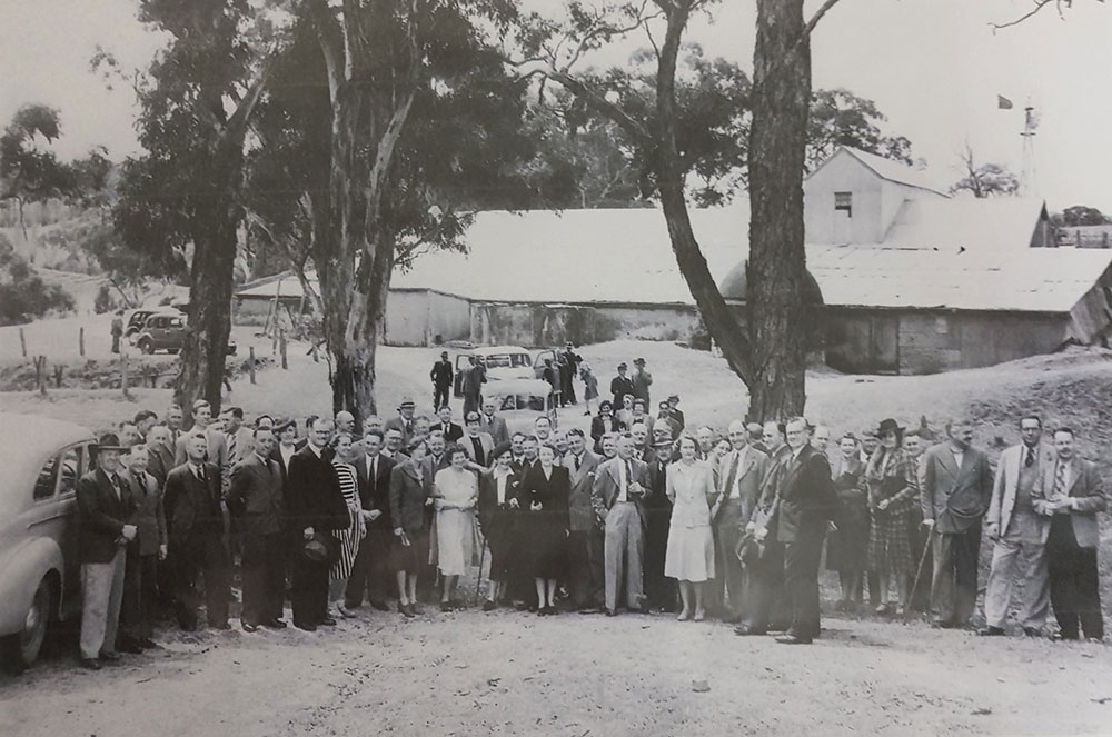 A gathering at the Upper Tintara Cellars in 1953 to celebrate the centenary of Thomas Hardy & Sons